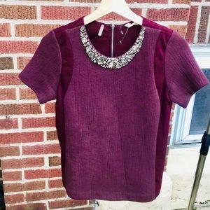 Rebecca Taylor Knit Jeweled Blouse